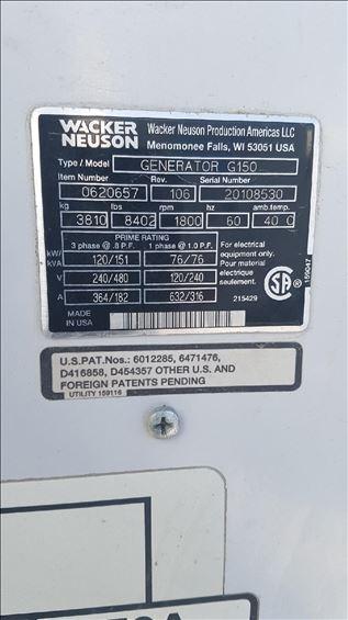 2012 Wacker Neuson G 150 Diesel Generator