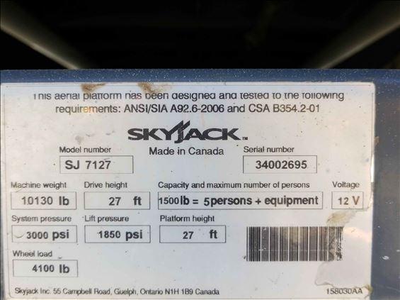 2014 Skyjack SJ7127RT Scissor Lift