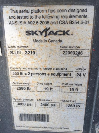 2016 Skyjack SJIII3219 Scissor Lift