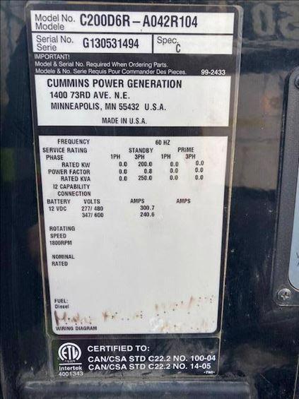 2013 Cummins C200D6R Diesel Generator