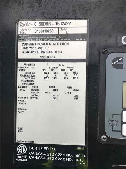 2015 Cummins C150D6R WOG Diesel Generator
