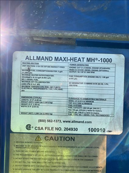 2014 Allmand MH-1000 Heater
